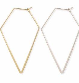 ZAD Get to the Point Diamond Shape Wire Hoop Earrings