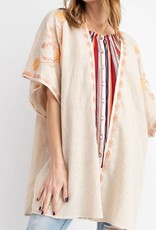 Easel CD12016 Easel -  Embroidered Cotton Gauze Kimono