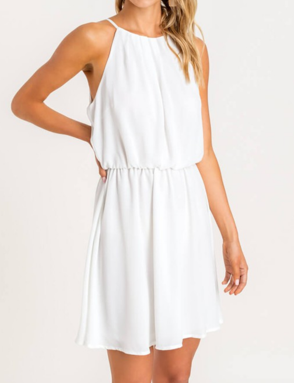 Lush Sheer Joy Pleated Dress