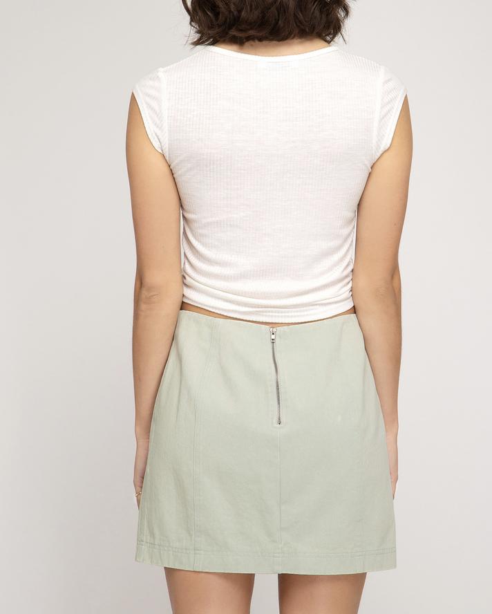 She & Sky Sage It Isn't So Mini Skirt