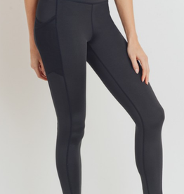 Mono b Overlay Mesh Pocket High Waisted Leggings