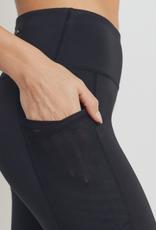 Mono b Overlay Mesh Pocket High Waisted Leggings