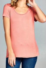 Active Basic Short Sleeve Scoop Neck Top