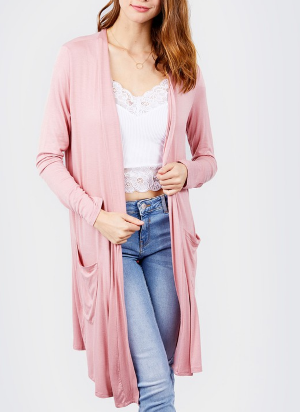 Active Basic Long Sleeve Cardigan with Pockets