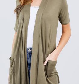 Active Basic Short Sleeve Open Cardigan