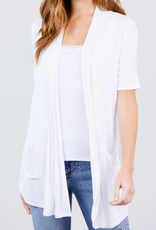 Active Basic Short Sleeve Open Cardigan