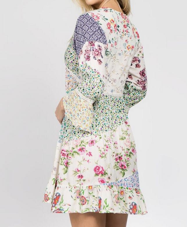 Fashion Fuse V Neck Long Sleeve Patch Work Dress