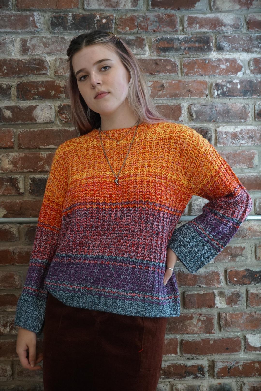 Hem & Thread Color Mix Oversize Sweater