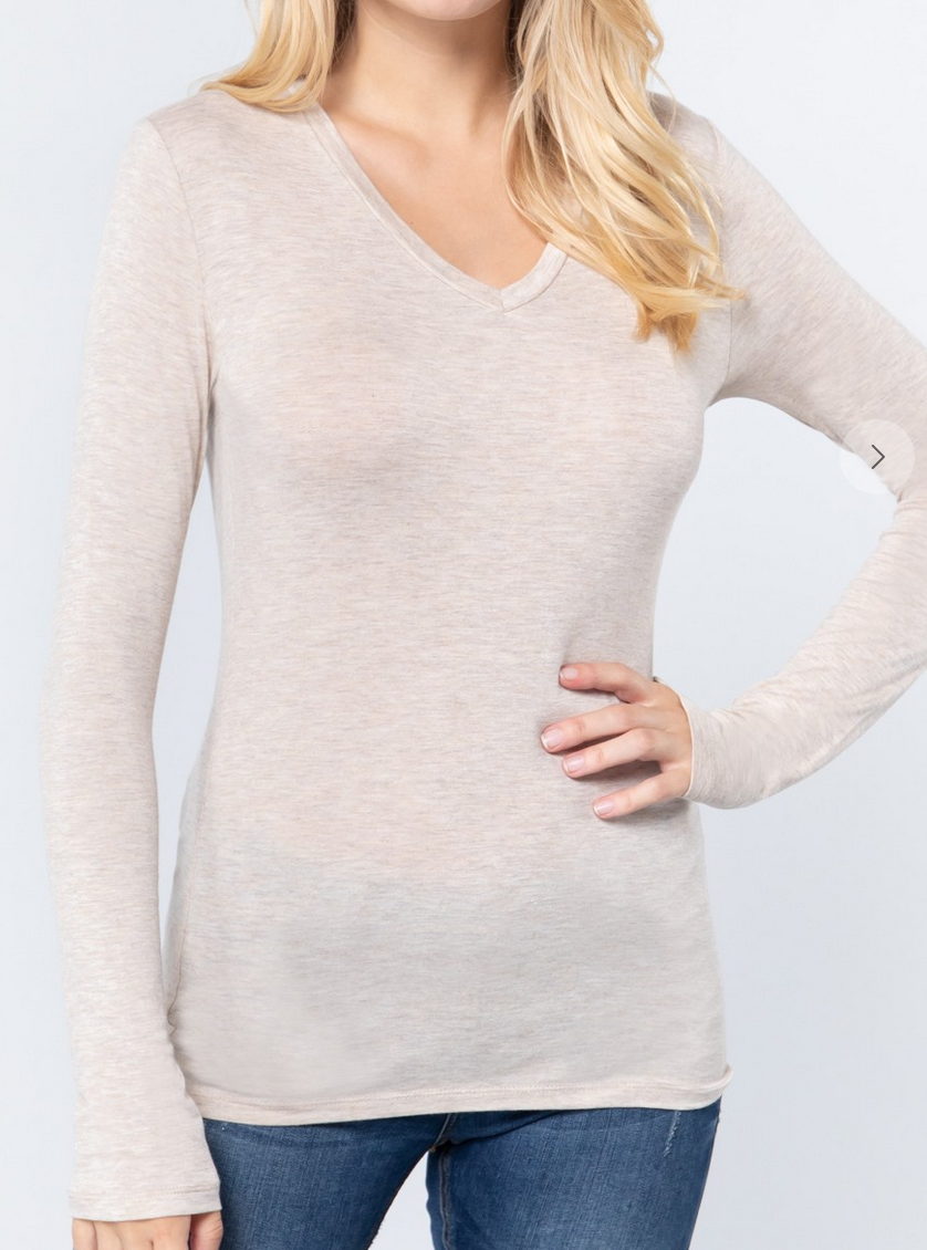 Active Basic Long Sleeve V-Neck Top