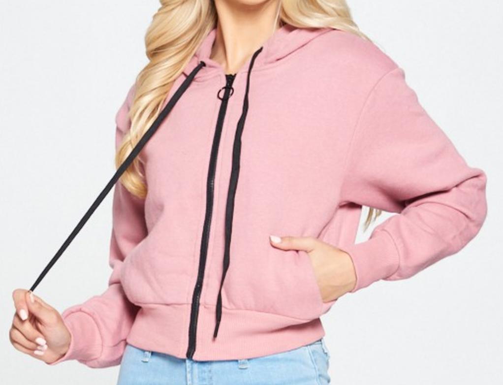 C'est Toi Think Pink Zip Up Hoodie