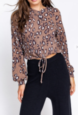 Le Lis It's Leopard Season Crop Hoodie