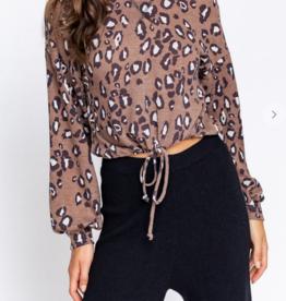 Le Lis It's Leopard Season Crop Hoodie