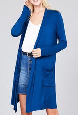 Active Basic Long Sleeve Cardigan with Pockets