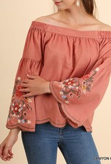 def5f35900b51 Umgee Embroidered Off The Shoulder Bell Sleeve Top - Virtue Boutique