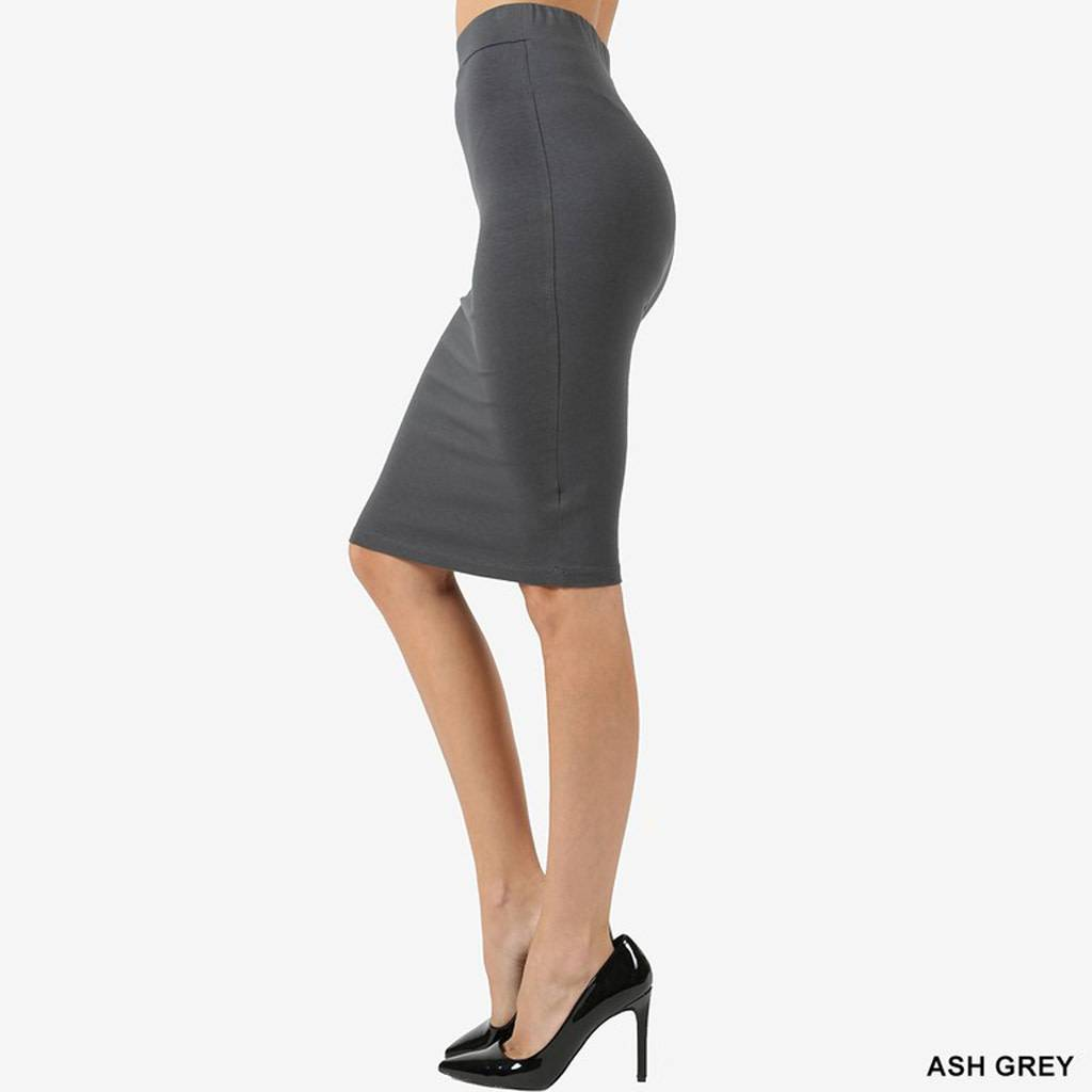 Zenana Cotton Pencil Skirt