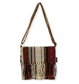 Catori Medium Flap Over Crossbody Bag with Long Fringe