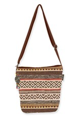 Catori Patterned Bucket Crossbody Bag with Metal Disk