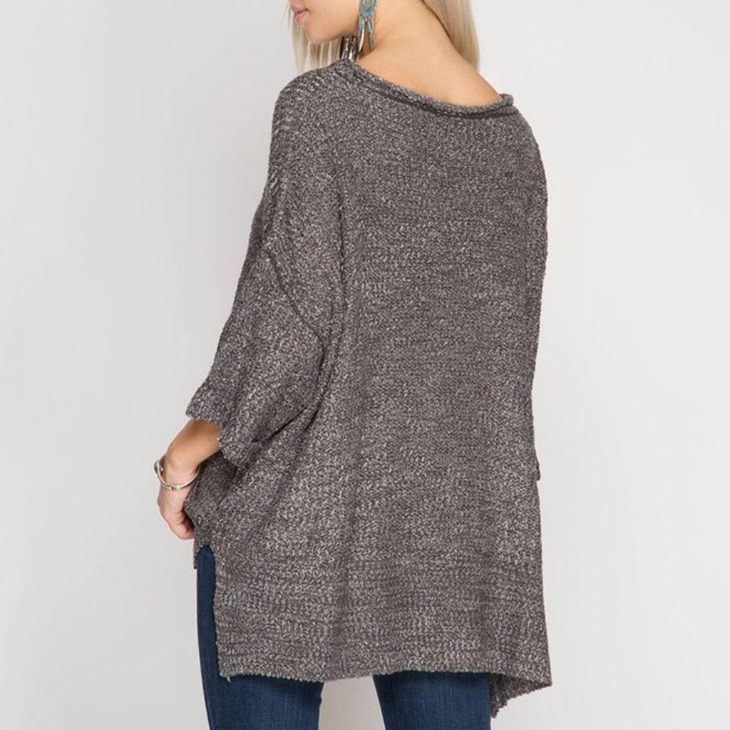 She Sky Oversized 34 Sleeve V Neck Sweater Virtue Boutique