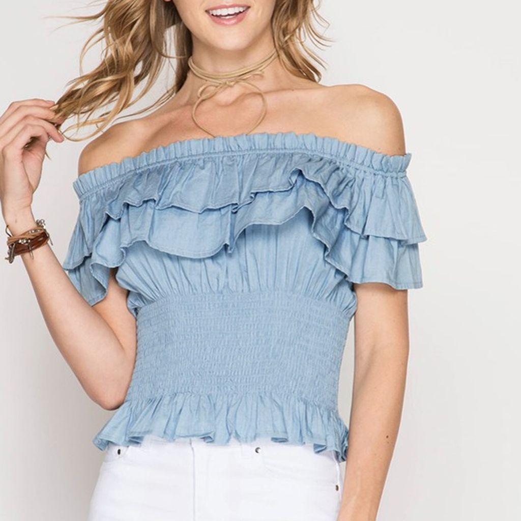 3a855c26ec9 She & Sky Smocked Double Ruffle Off The Shoulder Blouse - Virtue ...