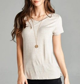 Active Basic Short Sleeve Jersey V-Neck Top