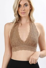 Zenana Lace Halter Stretch Bralette With Lining