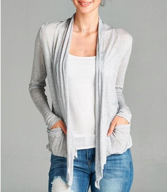 Active Basic Basic Flowy Cardigan- With Pockets!