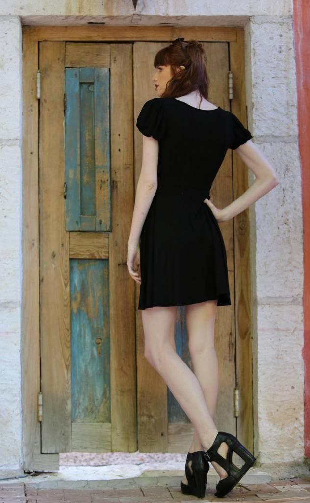Bubble Sleeve Skater Dress