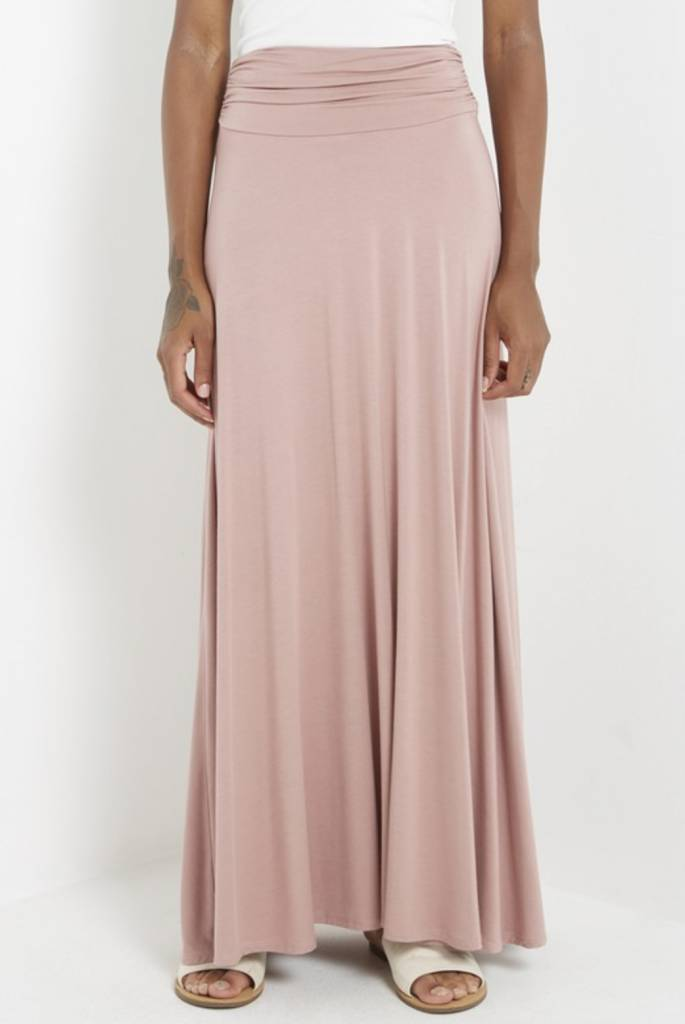 MaiTai Jersey Knit Maxi Skirt with Ruched Band