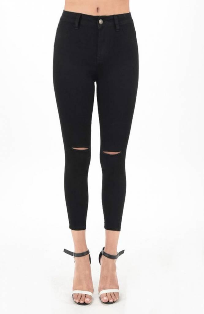 Hammer Open Knee High Waisted Denim Jeans