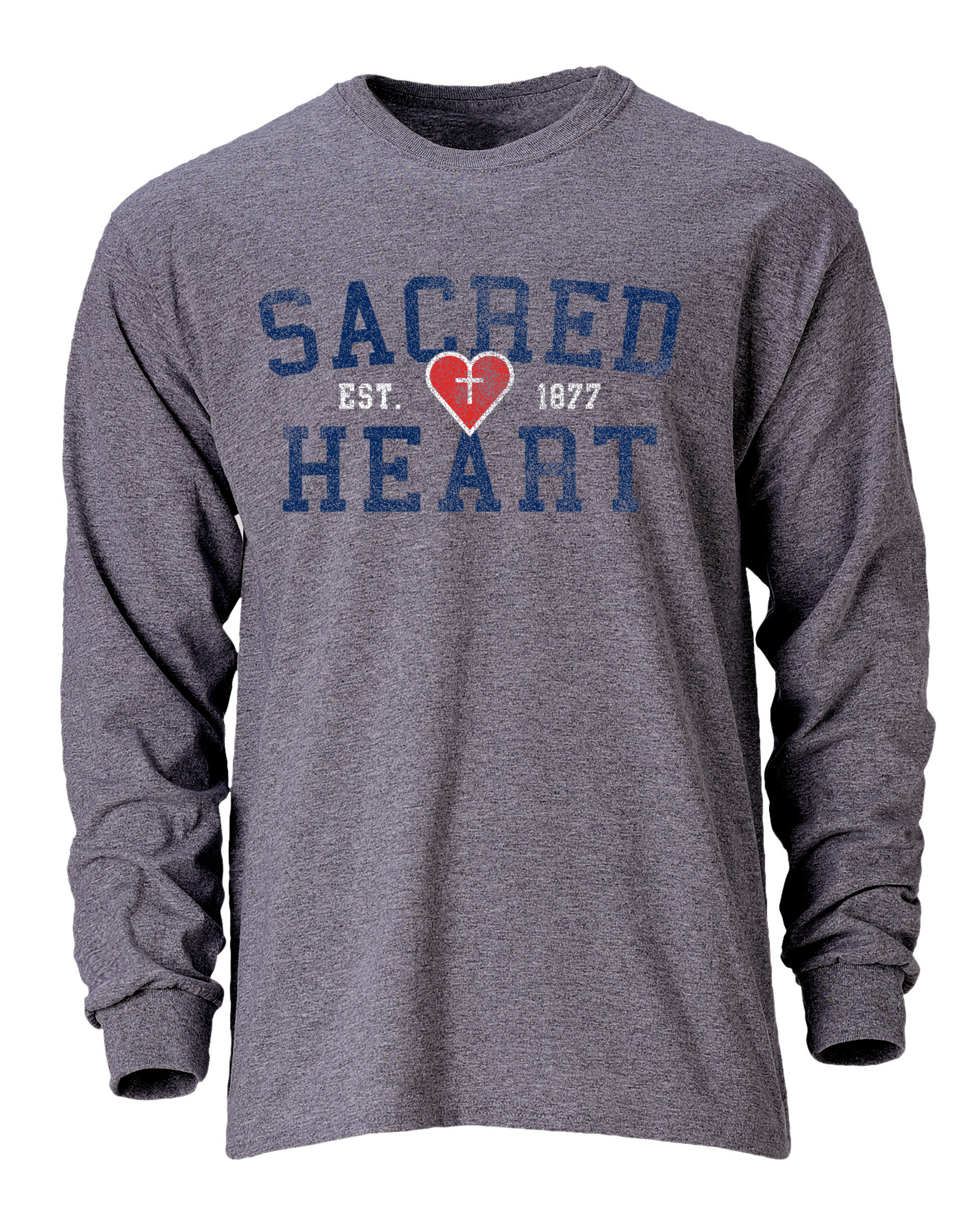 OURAY DISTRESSED GRAY HEART LS T