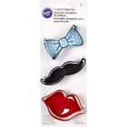 Wilton Products . WIL Metal Cookie Cutter Set - Lips, Mustache & Bow Tie 3 pcs