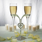 Wedding Star . WST (DISC)-Clear Glass Flutes with Silver Plated Stand