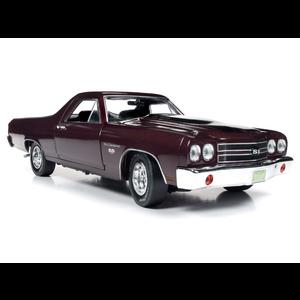 American Muscle Diecast . AMD 1/18 1970 Chevrolet El Camino Car Truck (100th Anniversary) - Black Cherry