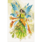 "LanArte Counted Cross Stitch Kit 13.2"" X 20.8"" - Fantasy Elf Fairy (30 Count)"