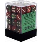 Chessex . CHX Gemini: 36D6 Green-Red / White Dice