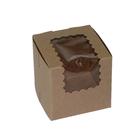 Retail Supplies . RES Kraft Window Single Cupcake Box