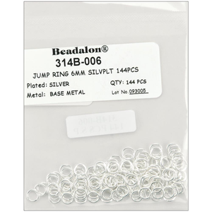 Beadalon . BDA Jump Rings 6mm 144/Pkg<br /> Silver-Plated