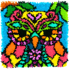 """Dimensions . DMS Owl - Dimensions Colorful Latch Hook Kit 16"""" X 16"""""""