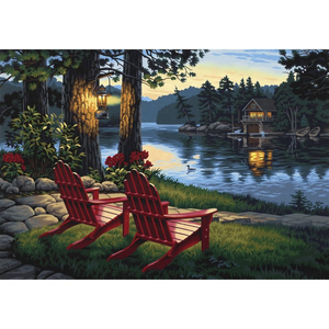 Dimensions . DMS Adirondack Evening - Paint By Number 20 x14