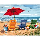Dimensions . DMS Beach Chair Trio - Paint by Number 14 X 11