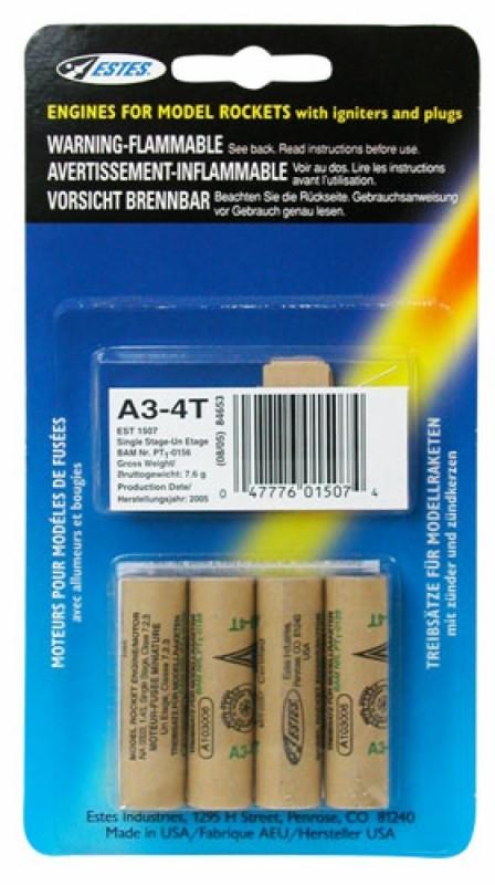 Estes Rockets   EST A3-4T Model Rocket Engines (4)