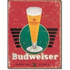 Desperate Enterprises . DPE Budweiser Retro Glass & Logo - Rectangular Tin Sign