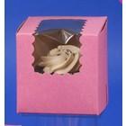 Retail Supplies . RES 4 X 4 X 4 Pink Bakery Box (1 Cupcake)