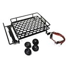 Racers Edge . REG 1/10 Scaler Metal Grid Roof Rack, Round Lights - Black