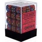 Chessex . CHX Gemini: 36D6 Blue-Red / Gold Dice