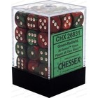Chessex . CHX Gemini: 36D6 Green-Red / White Dice