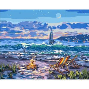 Plaid (crafts) . PLD (DISC) - Beach Moonlit Night with lights