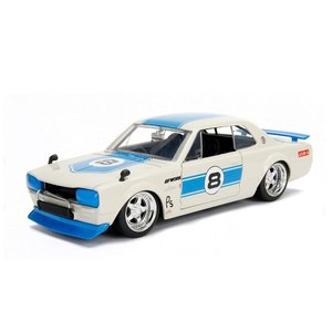 Jada Toys . JAD 1/24 1971 Nissan Skyline 2000 GT-R - White with Blue