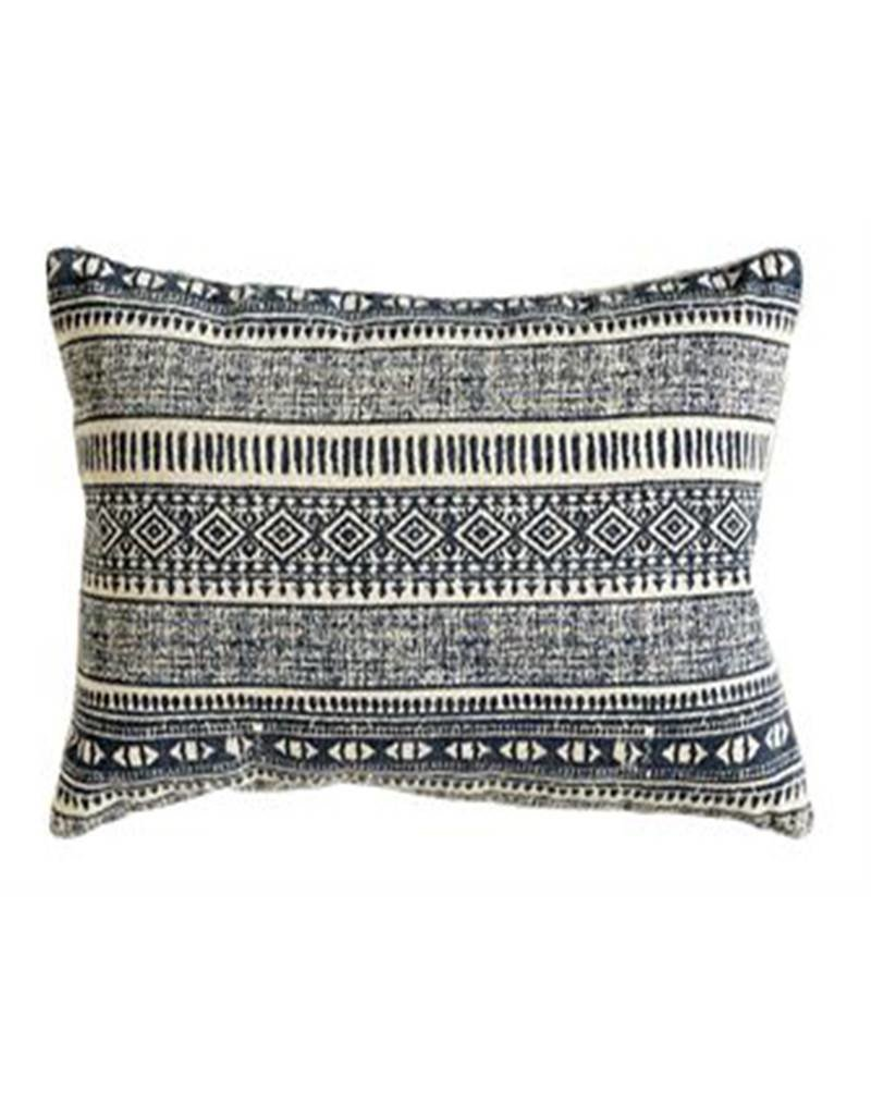 Natural & Blue Print Cotton Pillow