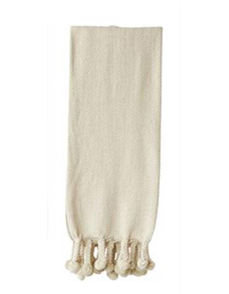 Cotton Throw with Pom Poms